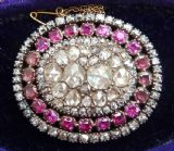 Stunning georgian rose diamond and flat cut rubies amethysts 18th century brooch